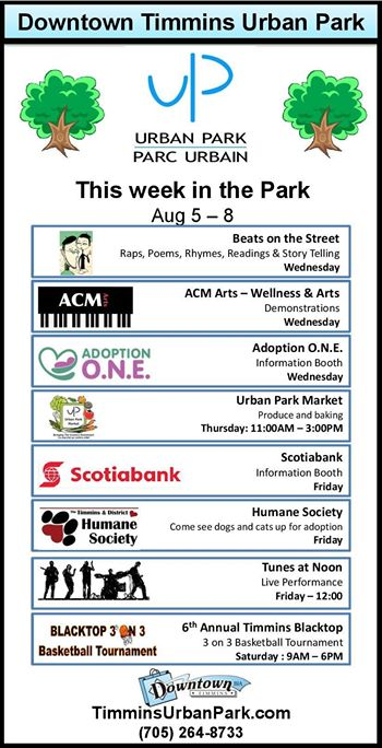 Urban Park add in Timmins Daily Press and Facebook - Aug 4th, 2015