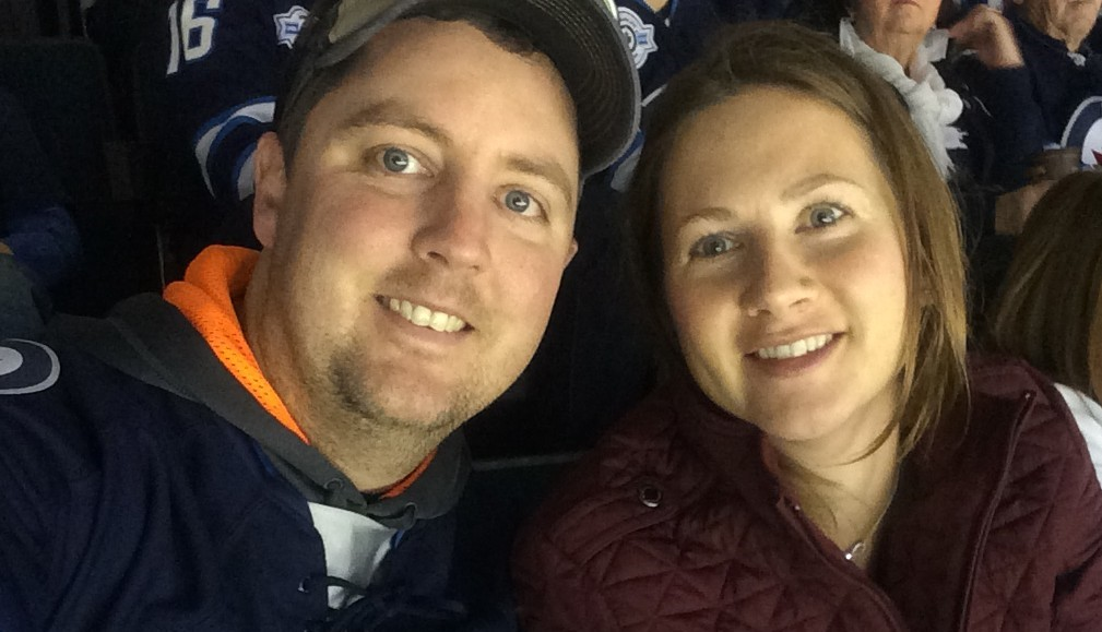 Riky and Katherine at NHL hockey game small